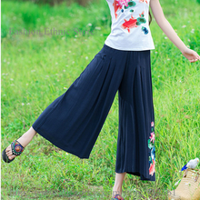 Womens Vintage Floral Embroidery Loose Wide Leg Pants Stretch Waist Cotton Linen Causal Trousers Summer Slacks pantaloons(China)