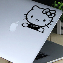 small size cute hello kitty home decal wall sticker /black removable computer phone decor adesivo de parede ZY331(China)
