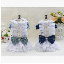 Lovely Dog Denim Skirt Cotton Layered Dress Teddy Bear Princess Dress Spring/Summer Party Clothing Dog Clothes Newest 2017