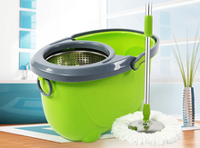 Double mop bucket for auto rotating mop bucket mop