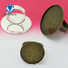 5pcs/lot 2017 Fashion vintage Plated 20/25/30mm oval Bague Cabochon Cameo Base Ring Trays ring Blank Base Tray Bezel Setting(China)