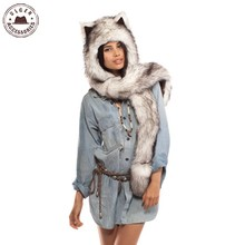 Faux Fur Warm Winter scarves for women Animal Wolf Tiger Hood Scarf Hat Glove Set Ladies Girls Spirit Caps