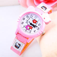 2015 Fashion Cute KT Cat Kids Watch Wristwatches for Women Jelly color Hello kitty Beautiful Children Cartoon Watches for Girls