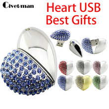 Real Capacity Lover's Gift Beautiful Heart USB Stick 4GB 8GB 16GB 32GB 64GB Pen Drive Flash Memory Disk 128GB USB Flash Drive(China)