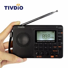 TIVDIO V-115 FM/AM/SW Radio Multiband Radio Receiver Bass Sound MP3 Player REC Recorder Portable Radio with Sleep Timer F9205A