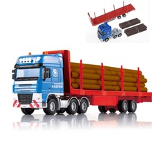 Alloy Diecast Log Transporter 1:50 10 Wheel Trailer Semi-Tractor Removeable Platform Truck Diecast Model Hobby Toy For Kids(China)