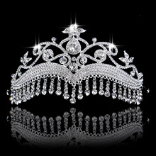 Hot European Head Jewelry Silver Plated Vintage Rhinestone Bridal Tiara Hair Accessories Crystal Pageant Wedding Crown For Women