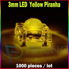 1000PCS x Superflux 3mm LED yellow Piranha Transparent 3 mm Diode Light Emitting Diode LED Lamp Round Lens Ultra Bright(China)