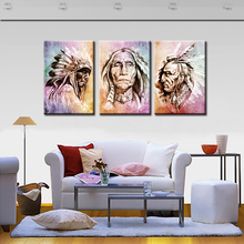 3 Panels American Indian Portrait Abstract Artworks Wall Art Picture Home Decoration Living Room Canvas Prints Painting