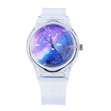 2017 New Hot Transparent Clock Silicone Watches Women Novelty Crystal Ladies Cartoon Wrist Watches dames horloges(China)