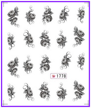 6 PACK/ LOT  GLITTER WATER DECAL NAIL ART NAIL STICKER BLACK FLOWER GARDENIA SAVONA  MARGUERITE SY1773-1778