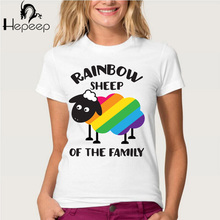 Hopuptee + 2017 New Fashion women's short sleeve Rainbow Sheep Of The Family Pride T-shirt lady cute tee shirt  hipster Tops