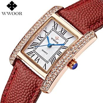 Mujeres de la marca de Relojes Mujeres del Cuero Genuino Cuadrados reloj mujer Vestido Reloj Cuarzo de Las Señoras de Lujo de Oro Rosa Reloj de pulsera Montre Femme