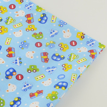 2016 New Cartoon Cars 100% Cotton Blue Twill Fabrics Home Textile Tissue Bedding Scrapbooking Quilting Patchwork Decoration Tela