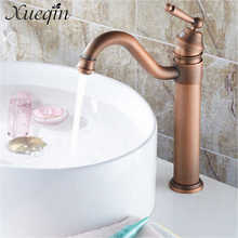 Xueqin Europe Classic Style Bathroom Basin Faucet Antique Copper Finish Mixer Tap with Ceramic Mixer Tap Sink Faucet