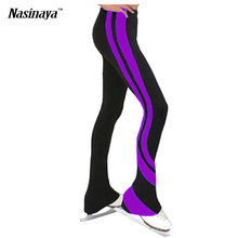 Customized ice skating long pants Figure Skating Pants Trousers fleece Fabric Adult Child Girl Show Clothing Performance Stripe