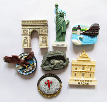 Statue of Liberty, New York, Switzerland.Macao the world travel resin refrigerator stickers