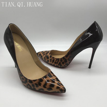 Hot Sales Women leopard print Genuine Leather Fashion Design Pumps High Quality Sexy High Heels Shoes Brand TIAN.QI.HUANG(China)