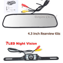 "4.3"" TFT LCD 800 x 480 Hd Monitor Car Rear View System Backup Reverse Camera Kit Night Vision  license plate camera"