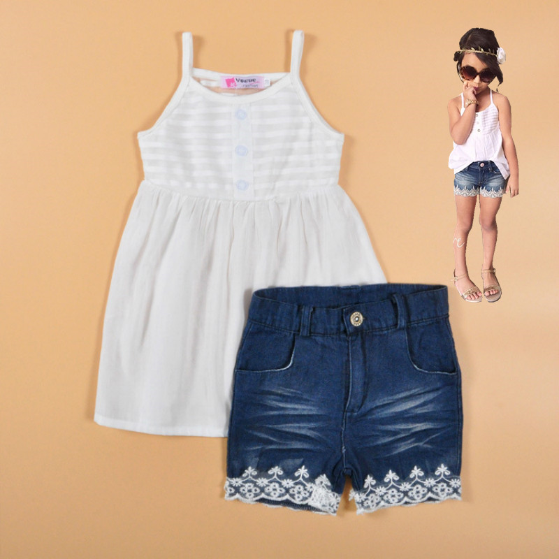 Kids clothes Girls clothing sets Vetement enfant fille Toddler summer clothes Tank top +denim shorts suits Girls White clothes<br><br>Aliexpress