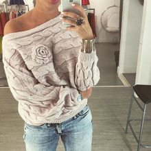 winter women ladies jumpers sweater Twisted batwing sleeve off shoulder knitted pullover jersey mujer K(China)