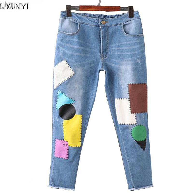 Korean 2017 Denim Trousers Women Elastic Waist Large Size Pants Fashion Multicolor Patch Slim Washing Jeans Woman Skinny CasualÎäåæäà è àêñåññóàðû<br><br>