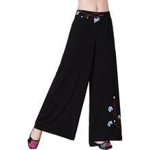 Quality Spring Summer New Women Cotton Pants Female Slacks Trousers Wide Leg Pants Brand Fashion Retro Style Embroidery Clothes