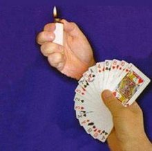 Lighter To Card Fan - magic trick, card magic illusions,