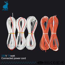 12K 20meters 74W 33ohm carbon fiber heating wire Heating cable Connected power cord Low cost silicone rubber heating wire