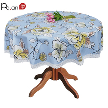 Korean Cotton Canvas Round Table Cloth Flower Printed Lace Edge Thick Table Cover Microwave Dustproof Cover Wedding Decoration