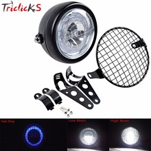 Triclicks 60W Cree Chips 6000LM Front DRL Hi-Lo Universal Headlights Motorcycle Headlight+Metal Grill Cover Brackets Cafe Racer
