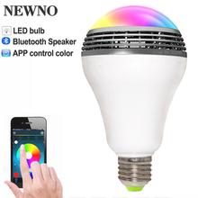 NEWNO Smart LED Bulb light wireless Bluetooth Speaker Dimmable Color E27 Lamp Audio speaker for iPhone samsung Android phone(China)