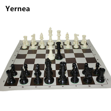 International Standard Chess Game Set Competition King 97mm(3.82inch) Large Plastic Chess Set with Chessboard 4 Rear Game Yernea