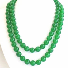 Wholesale price women long 35inch 10mm natural green chalcedony jades round beads chain necklace fashion clothes jewels BV438(China)
