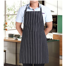 Adjustable Black Stripe Bib Apron with 2 Pockets Chef Waiter Kitchen Cook Tool #84803