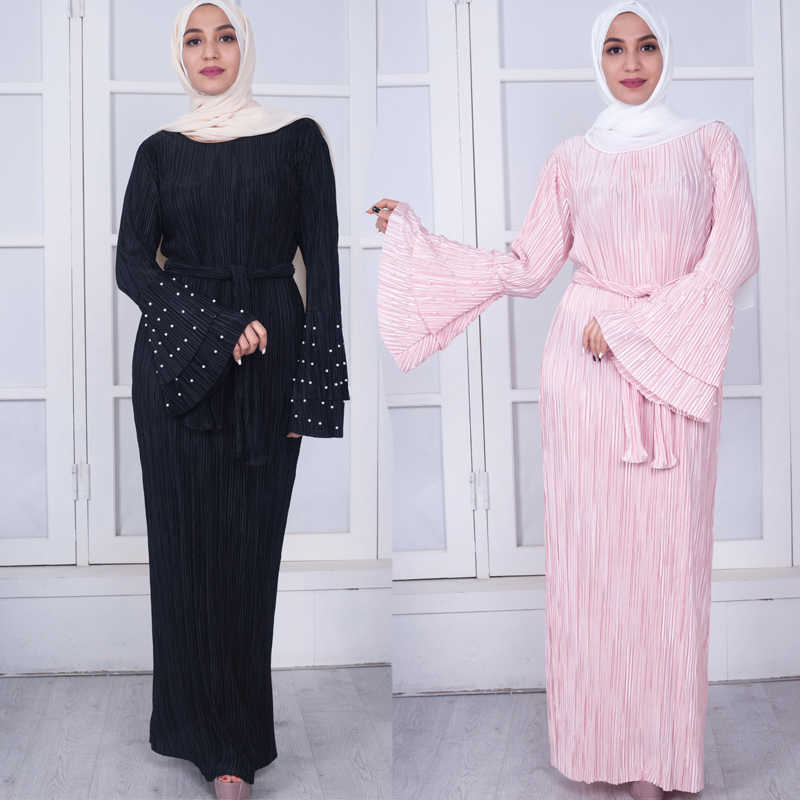 73fe5ae0130c6 Plus Size 2018 UAE Abaya Dubai Moroccan Kaftan Arabic Jurken Muslim Pleated  Hijab Dress Vestido Dresses