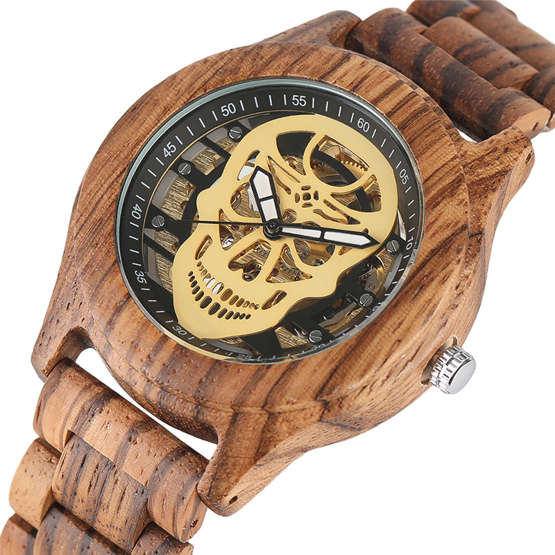 YISUYA Mens Automatic Mechanical Full Wood Watches Fashion Skeleton Skull Dial Wooden Self Winding Wristwatch<br>