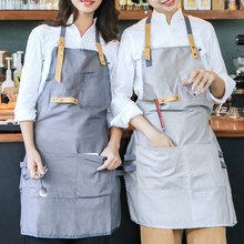 Fashion Female Cotton And Linen Simple Coffee Shop Apron Restaurant Milk Tea Shop Baking Cooking Art Adult Work Clothes