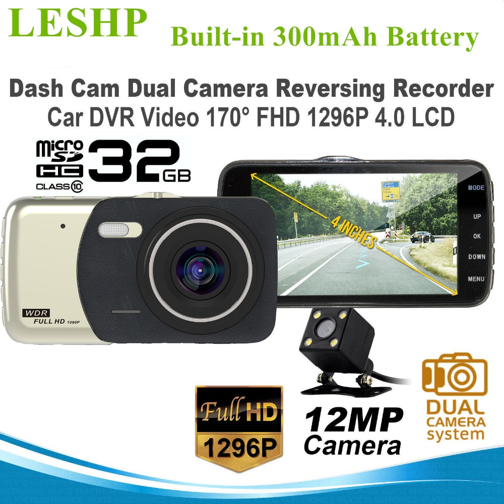 LESHP Car DVR Dash Cam 4 inch LCD Dual Camera Reversing Recorder 170 Wide Angle FHD Night Vision Video Camcorder Support TF Card<br>