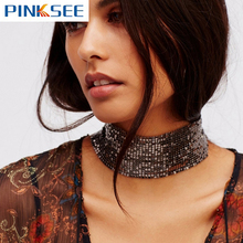 Punk Style Jewelry Sequins Wide Mesh Choker Gold Silver Plated Alloy Statement Necklace For Women Accessories