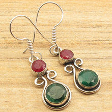 Silver Overlay Round Red rubi & Green EMERLAD 2 Gems Ethnic Earrings 1 5/8inches