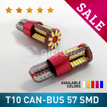 1pcs T10 LED CANBUS SMD 192 2825 w5w super bright 57smd NO Error Car marker Auto Wedge Clearance Lights bulb parking lamps 12V