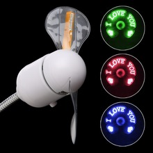 USB LED Light Flexible Fan Cooling DIY Program Editable Message For PC Laptop(China)