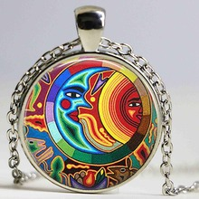 Free shipping Glass Dome Pendant Sun and Moon Necklace Glass Tile Jewelry Celestial Jewelry Necklace(China)