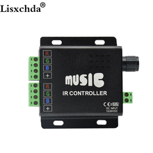 12V-24V 12A Sound Activated Music Controller Black Color with 24key IR Remote Control 288W 2 Ports Output for RGB LED Strip