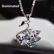 Dominated women Jewelry Zircon Crystal Necklace Pendant New Swan Sweater Chain(China)