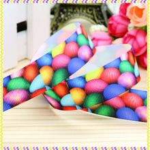 7/8'' Free shipping easter printed grosgrain ribbon headwear hair bow diy party decoration wholesale OEM 22mm B816