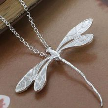 P076 fashion jewelry 2016 chains necklace silver plated, silver pendant Long dragonfly pendant /bezajwgasn(China)