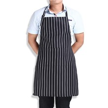 Hot Kitchen Cook Adjustable Adult Stripe Bib Apron with 2 Pockets Chef Waiter