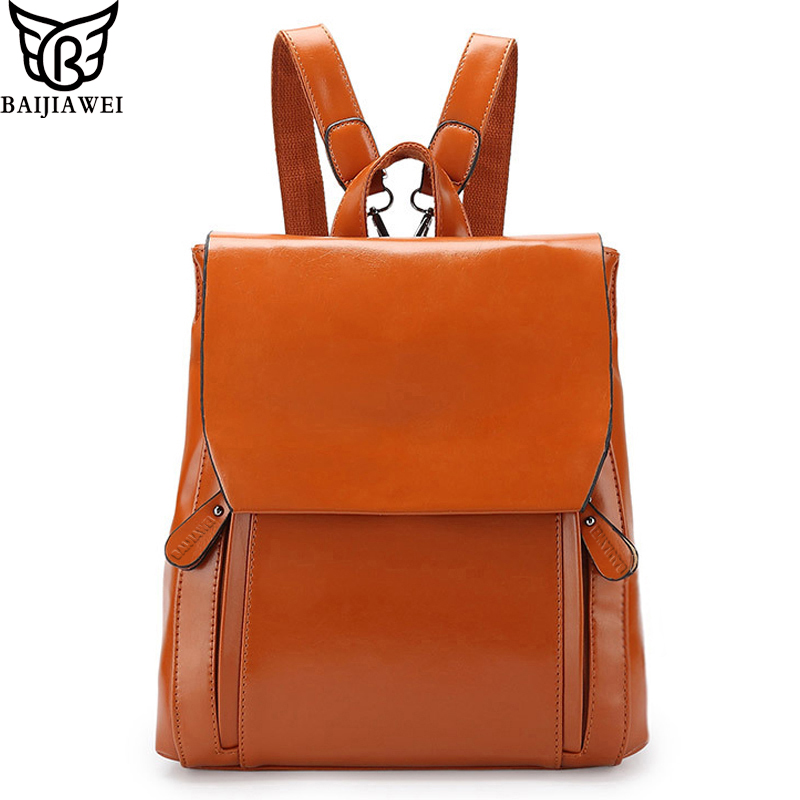 BAIJIAWEI Hot Sale 5 Colors Leather Backpack For Women  Mixed Oxhide Bags Mochila Escolar Cow Leather Fashion Brand Backpacks<br><br>Aliexpress